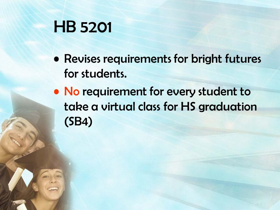 HB 5201 Revises requirements for bright futures for students.