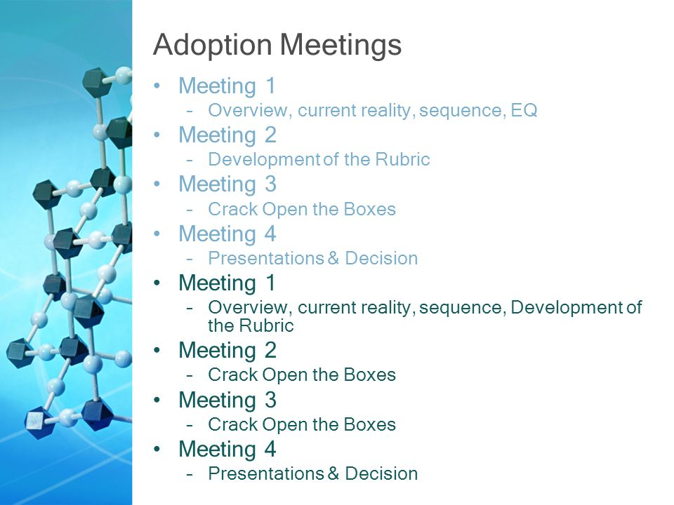 Adoption Meetings Meeting 1 –Overview, current reality, sequence, EQ Meeting 2 –Development of the Rubric Meeting 3 –Crack Open the Boxes Meeting 4 –Presentations & Decision Meeting 1 –Overview, current reality, sequence, Development of the Rubric Meeting 2 –Crack Open the Boxes Meeting 3 –Crack Open the Boxes Meeting 4 –Presentations & Decision