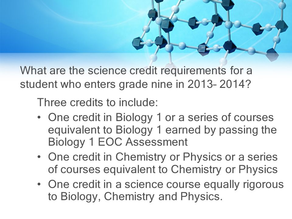 What are the science credit requirements for a student who enters grade nine in 2013– 2014.