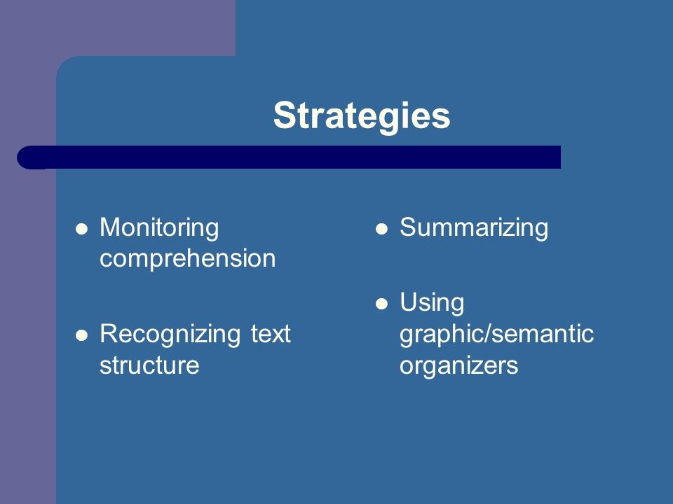 Strategies Monitoring comprehension Recognizing text structure Summarizing Using graphic/semantic organizers