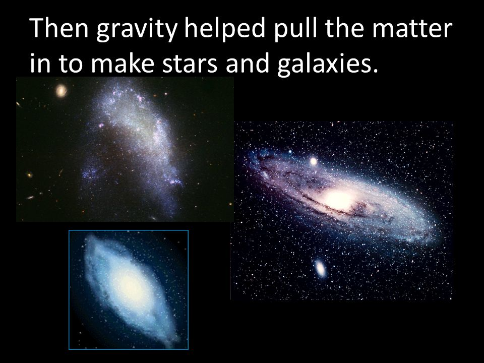 Then gravity helped pull the matter in to make stars and galaxies.