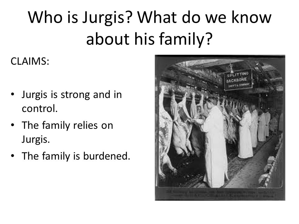Who is Jurgis. What do we know about his family. CLAIMS: Jurgis is strong and in control.