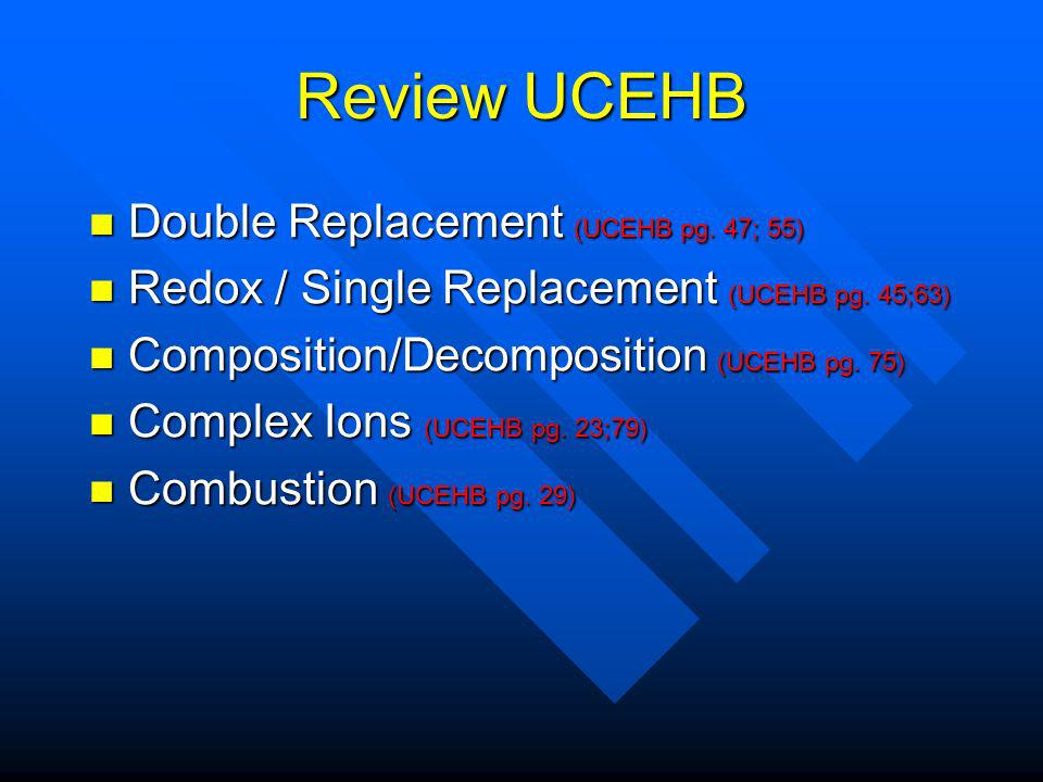 Review UCEHB Double Replacement (UCEHB pg. 47; 55) Double Replacement (UCEHB pg.