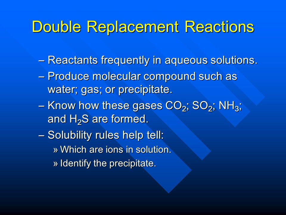 Double Replacement Reactions –Reactants frequently in aqueous solutions.