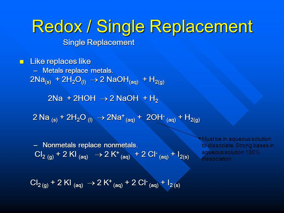 Redox / Single Replacement Single Replacement Single Replacement Like replaces like Like replaces like –Metals replace metals.