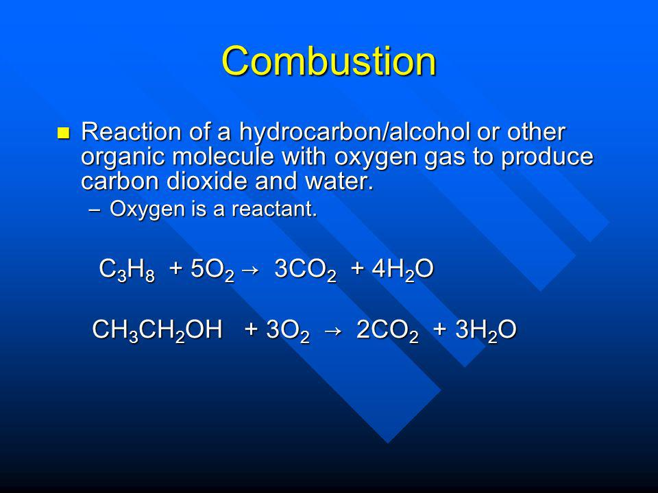 Combustion Reaction of a hydrocarbon/alcohol or other organic molecule with oxygen gas to produce carbon dioxide and water.