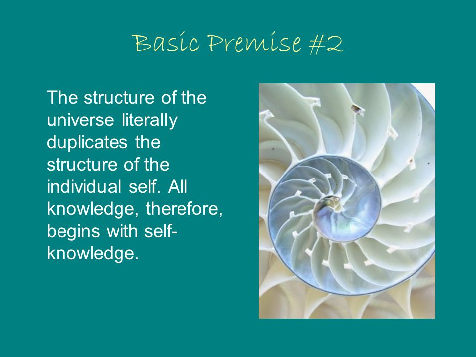 Basic Premise #2 The structure of the universe literally duplicates the structure of the individual self.