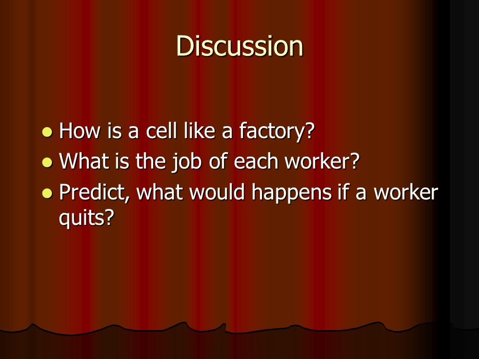 Discussion How is a cell like a factory. How is a cell like a factory.