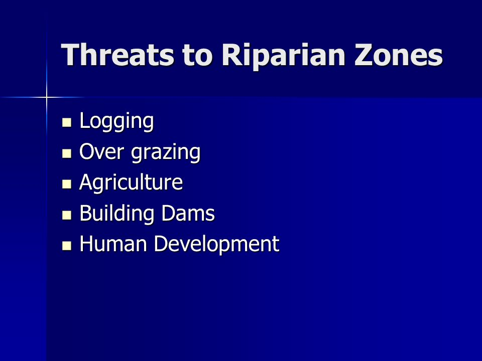Threats to Riparian Zones Logging Logging Over grazing Over grazing Agriculture Agriculture Building Dams Building Dams Human Development Human Development