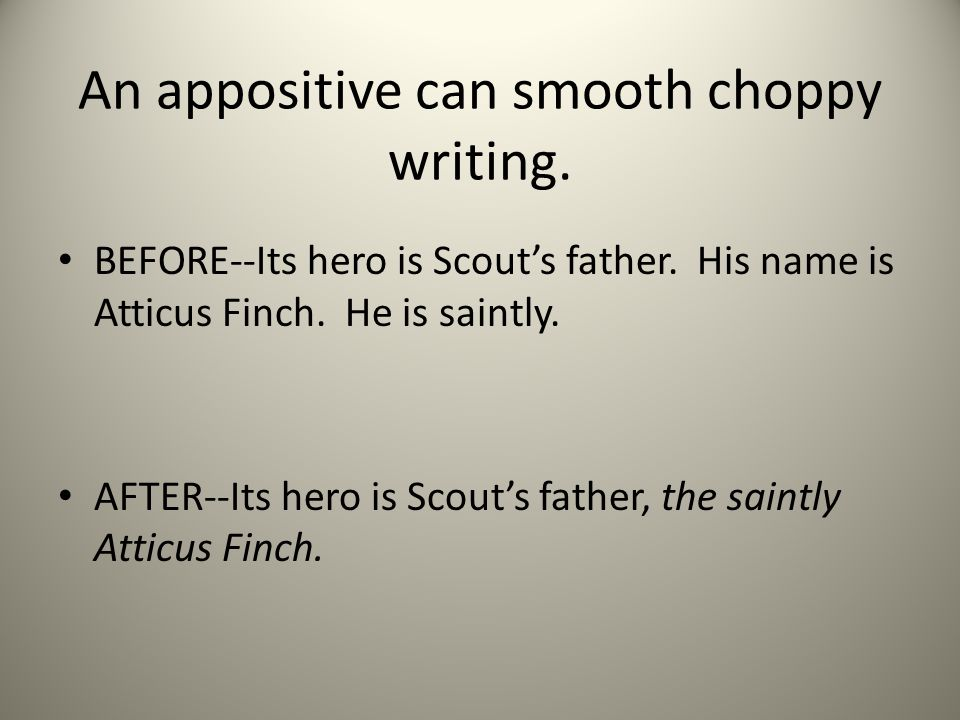 An appositive can smooth choppy writing. BEFORE--Its hero is Scouts father.