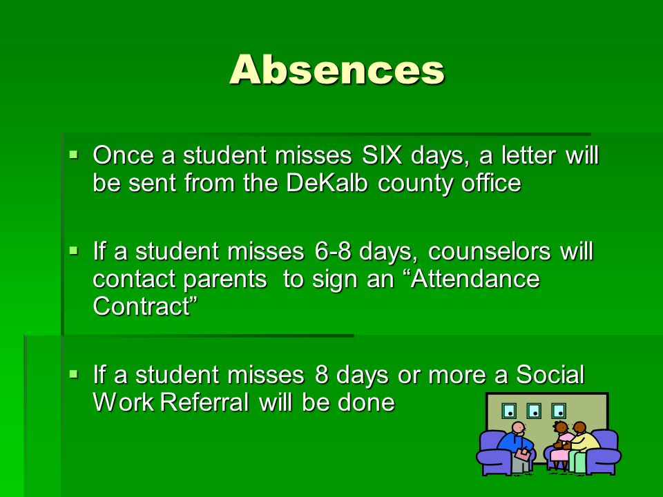 Absences Once a student misses SIX days, a letter will be sent from the DeKalb county office Once a student misses SIX days, a letter will be sent from the DeKalb county office If a student misses 6-8 days, counselors will contact parents to sign an Attendance Contract If a student misses 6-8 days, counselors will contact parents to sign an Attendance Contract If a student misses 8 days or more a Social Work Referral will be done If a student misses 8 days or more a Social Work Referral will be done