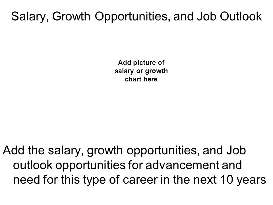 Salary, Growth Opportunities, and Job Outlook Add the salary, growth opportunities, and Job outlook opportunities for advancement and need for this type of career in the next 10 years Add picture of salary or growth chart here