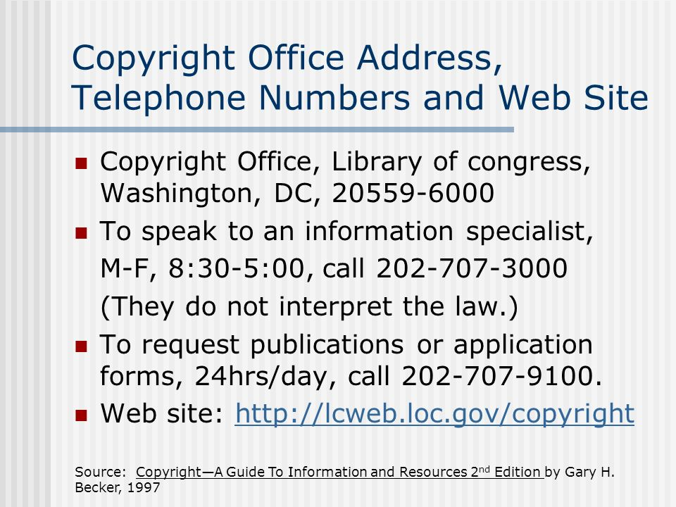 Source: CopyrightA Guide To Information and Resources 2 nd Edition by Gary H.