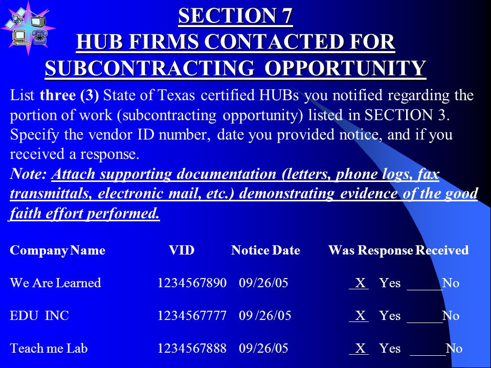 SECTION 6 NOTIFICATION OF SUBCONTRACTING OPPORTUNITY B.