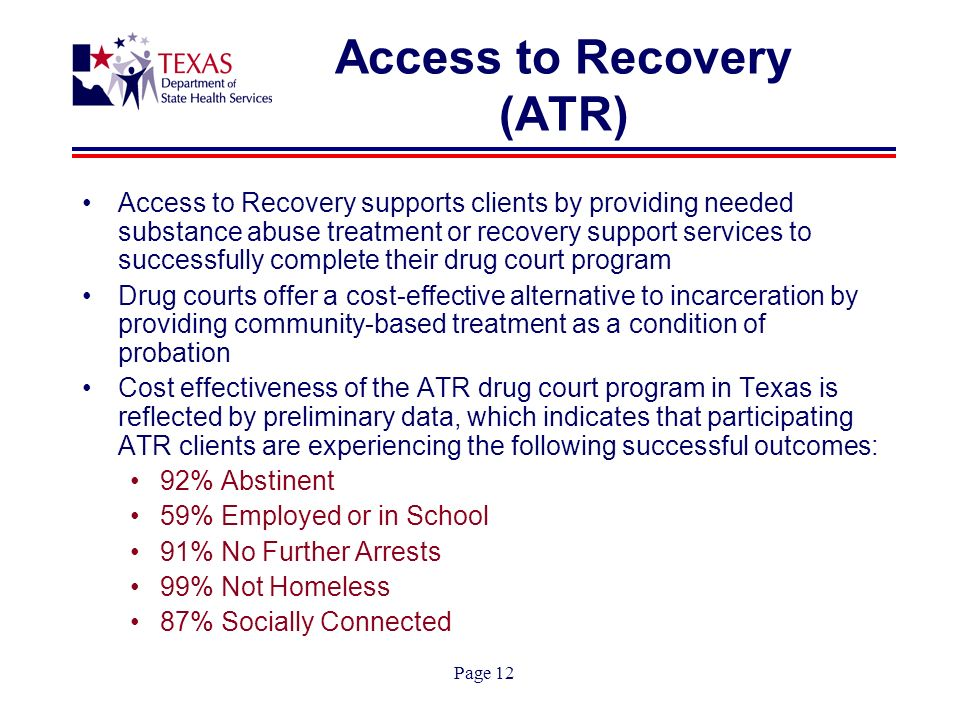 Page 12 Access to Recovery (ATR) Access to Recovery supports clients by providing needed substance abuse treatment or recovery support services to successfully complete their drug court program Drug courts offer a cost-effective alternative to incarceration by providing community-based treatment as a condition of probation Cost effectiveness of the ATR drug court program in Texas is reflected by preliminary data, which indicates that participating ATR clients are experiencing the following successful outcomes: 92% Abstinent 59% Employed or in School 91% No Further Arrests 99% Not Homeless 87% Socially Connected