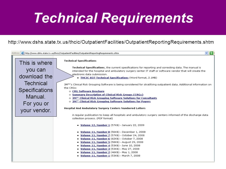 Technical Requirements This is where you can download the Technical Specifications Manual.