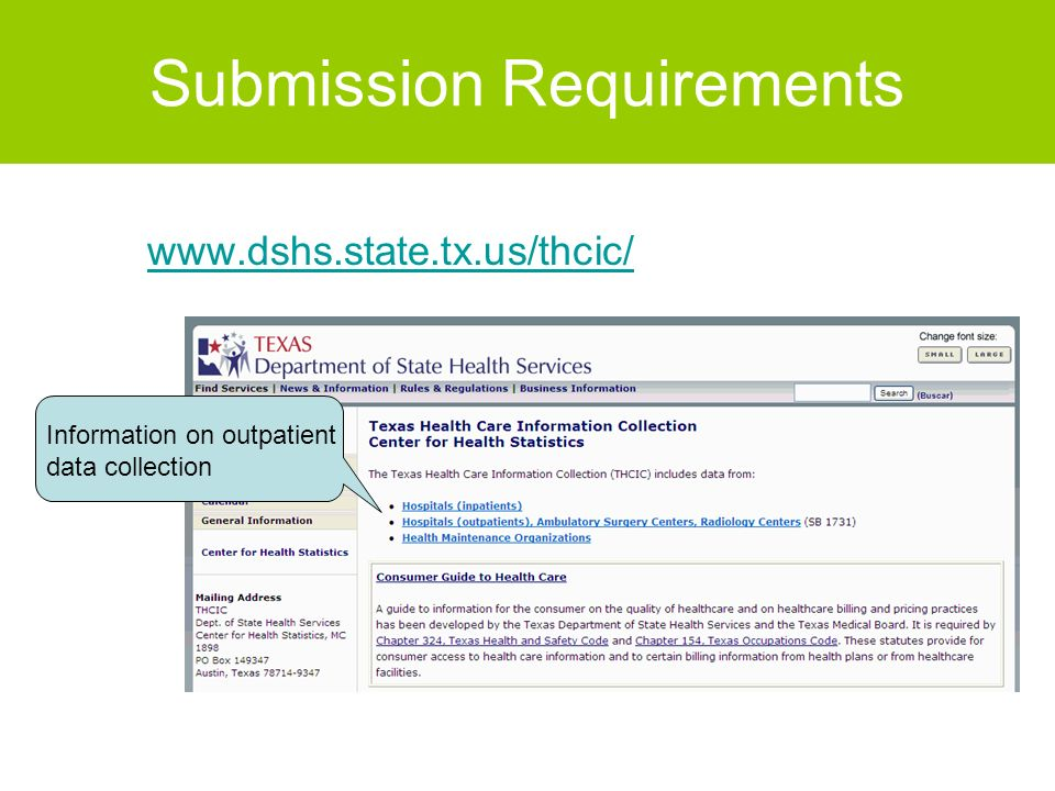 Submission Requirements www.dshs.state.tx.us/thcic/ Information on outpatient data collection