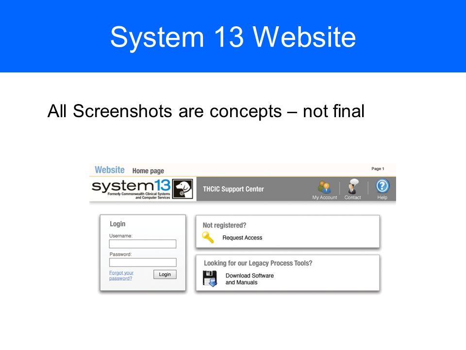 System 13 Website All Screenshots are concepts – not final