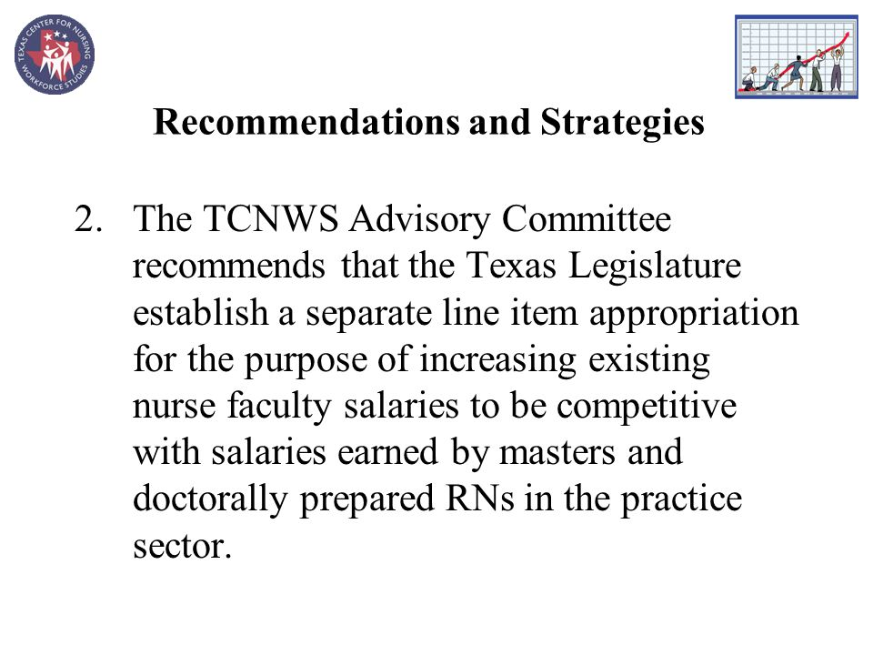 Recommendations and Strategies 2.The TCNWS Advisory Committee recommends that the Texas Legislature establish a separate line item appropriation for the purpose of increasing existing nurse faculty salaries to be competitive with salaries earned by masters and doctorally prepared RNs in the practice sector.