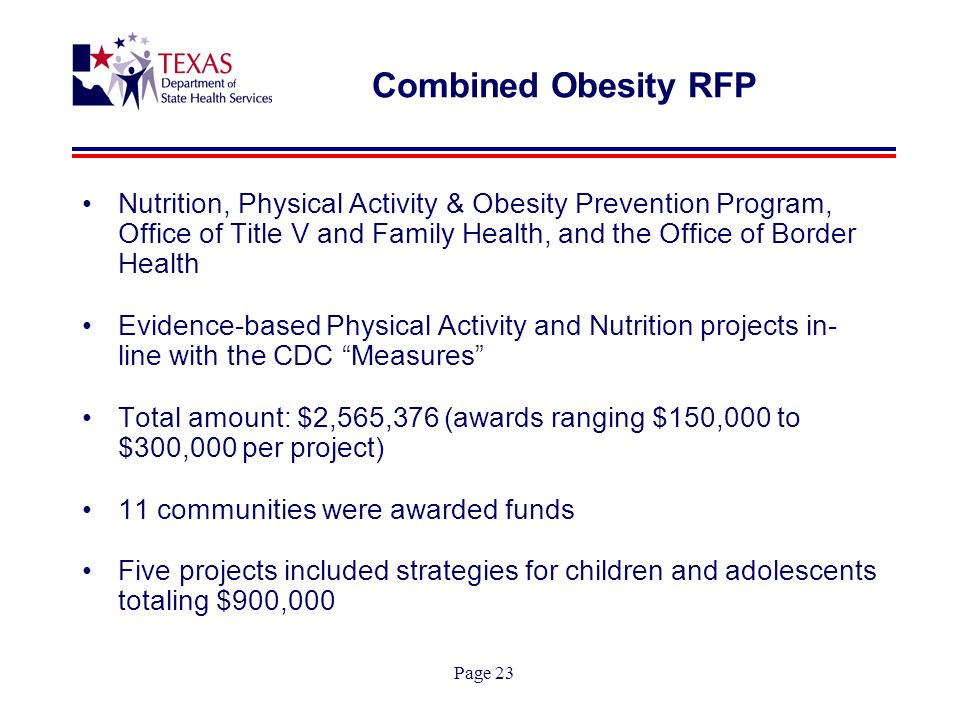 Page 23 Combined Obesity RFP Nutrition, Physical Activity & Obesity Prevention Program, Office of Title V and Family Health, and the Office of Border Health Evidence-based Physical Activity and Nutrition projects in- line with the CDC Measures Total amount: $2,565,376 (awards ranging $150,000 to $300,000 per project) 11 communities were awarded funds Five projects included strategies for children and adolescents totaling $900,000