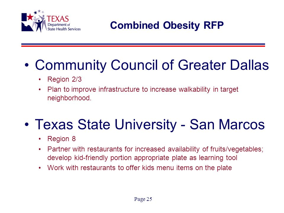 Page 25 Combined Obesity RFP Community Council of Greater Dallas Region 2/3 Plan to improve infrastructure to increase walkability in target neighborhood.
