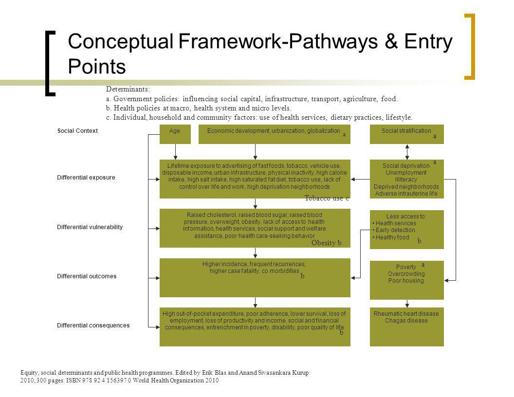 Conceptual Framework-Pathways & Entry Points Social ContextSocial stratification Differential exposure Social deprivation Unemployment Illiteracy Deprived neighborhoods Adverse intrauterine life Differential vulnerability Less access to: Health services Early detection Healthy food Differential outcomes Poverty Overcrowding Poor housing Differential consequences Rheumatic heart disease Chagas disease Lifetime exposure to advertising of fast foods, tobacco, vehicle use, disposable income, urban infrastructure, physical inactivity, high calorie intake, high salt intake, high saturated fat diet, tobacco use, lack of control over life and work, high deprivation neighborhoods Raised cholesterol, raised blood sugar, raised blood pressure, overweight, obesity, lack of access to health information, health services, social support and welfare assistance, poor health care-seeking behavior Higher incidence, frequent recurrences, higher case fatality, co morbidities High out-of-pocket expenditure, poor adherence, lower survival, loss of employment, loss of productivity and income, social and financial consequences, entrenchment in poverty, disability, poor quality of life AgeEconomic development, urbanization, globalization Equity, social determinants and public health programmes.
