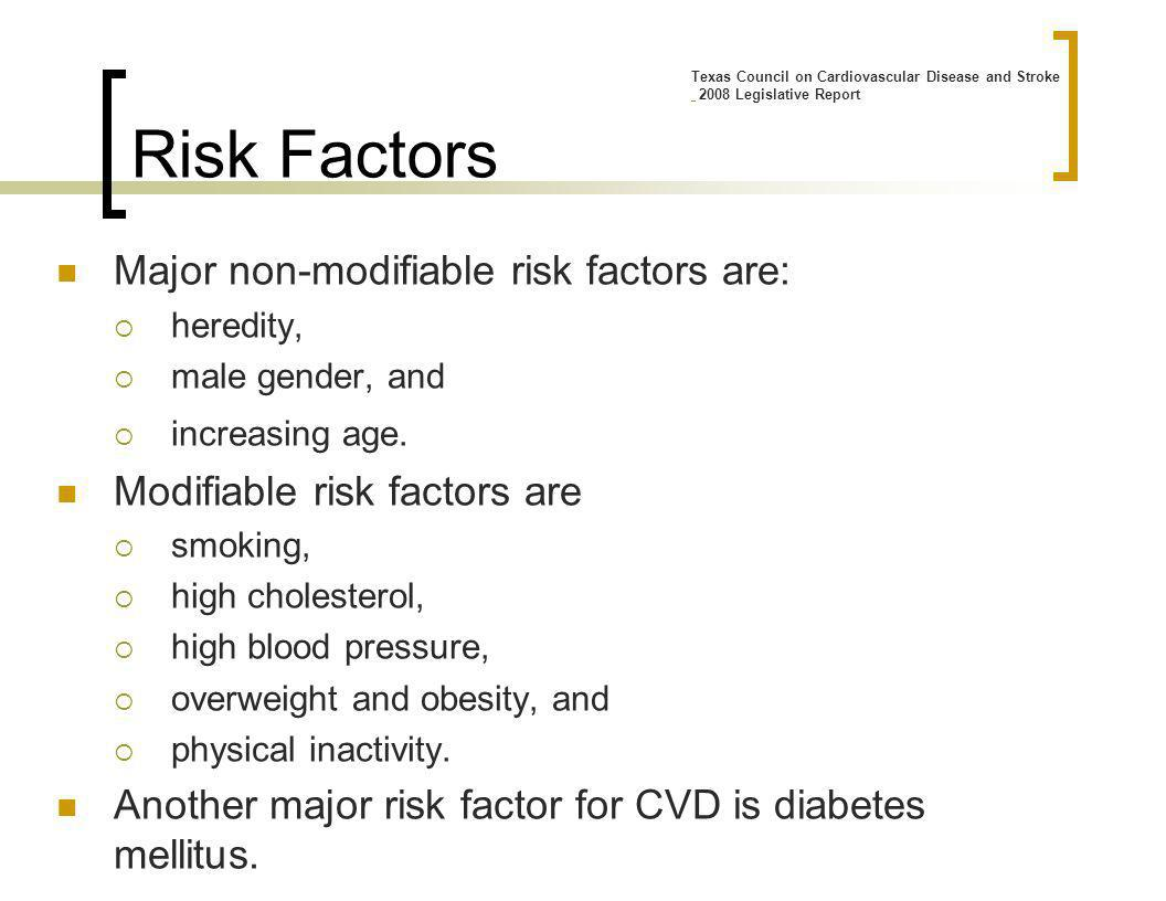 Major non-modifiable risk factors are: heredity, male gender, and increasing age.
