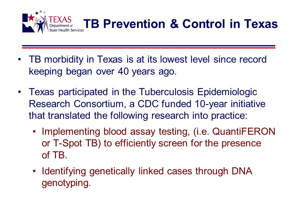 TB morbidity in Texas is at its lowest level since record keeping began over 40 years ago.