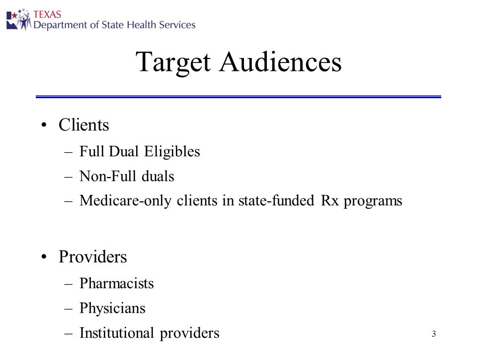 3 Target Audiences Clients –Full Dual Eligibles –Non-Full duals –Medicare-only clients in state-funded Rx programs Providers –Pharmacists –Physicians –Institutional providers