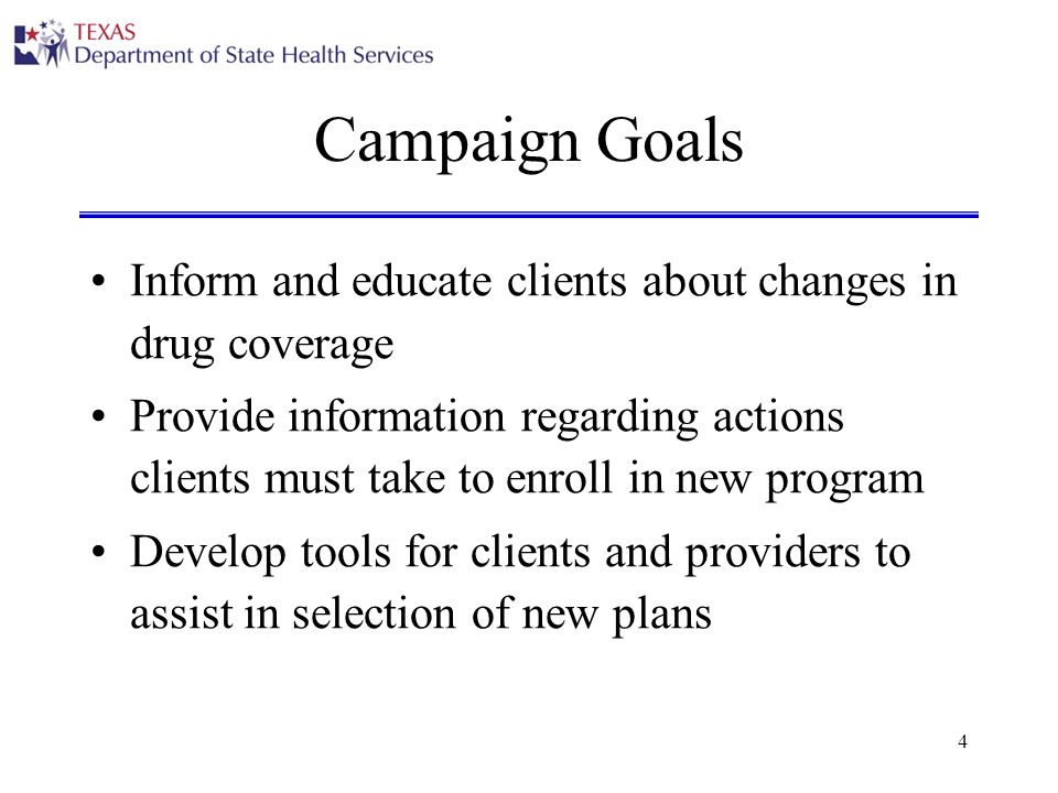 4 Campaign Goals Inform and educate clients about changes in drug coverage Provide information regarding actions clients must take to enroll in new program Develop tools for clients and providers to assist in selection of new plans