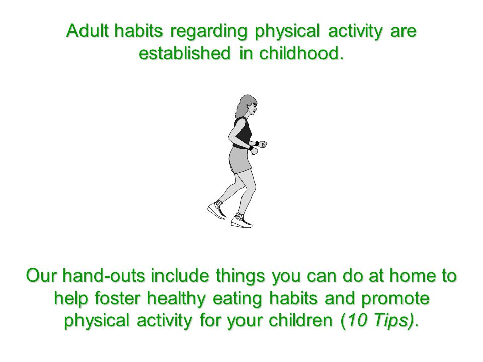 Adult habits regarding physical activity are established in childhood.