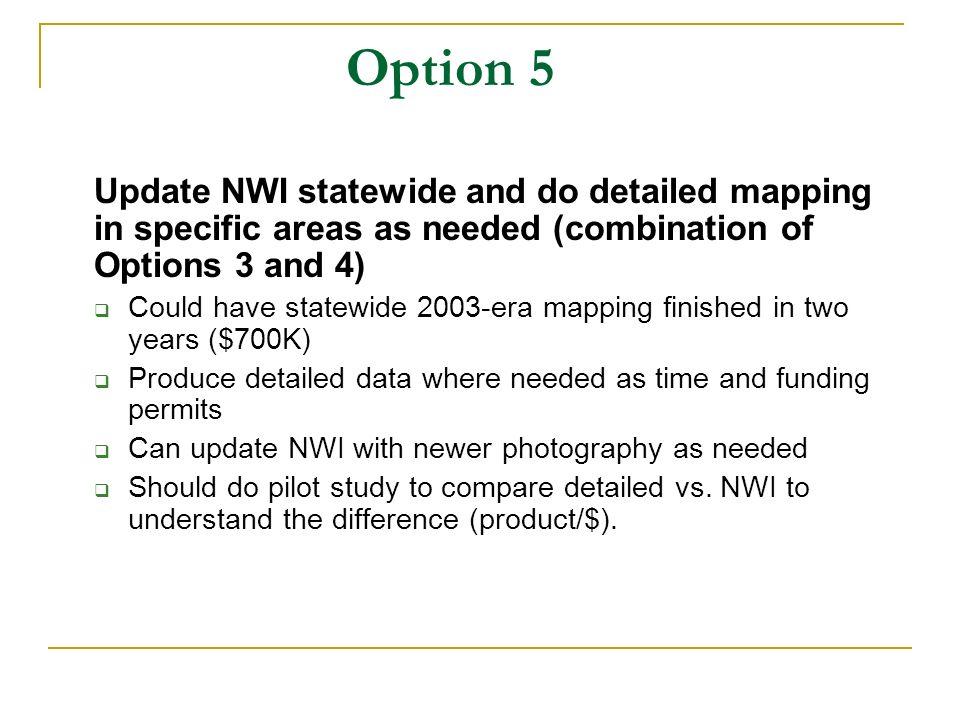 Option 5 Update NWI statewide and do detailed mapping in specific areas as needed (combination of Options 3 and 4) Could have statewide 2003-era mapping finished in two years ($700K) Produce detailed data where needed as time and funding permits Can update NWI with newer photography as needed Should do pilot study to compare detailed vs.