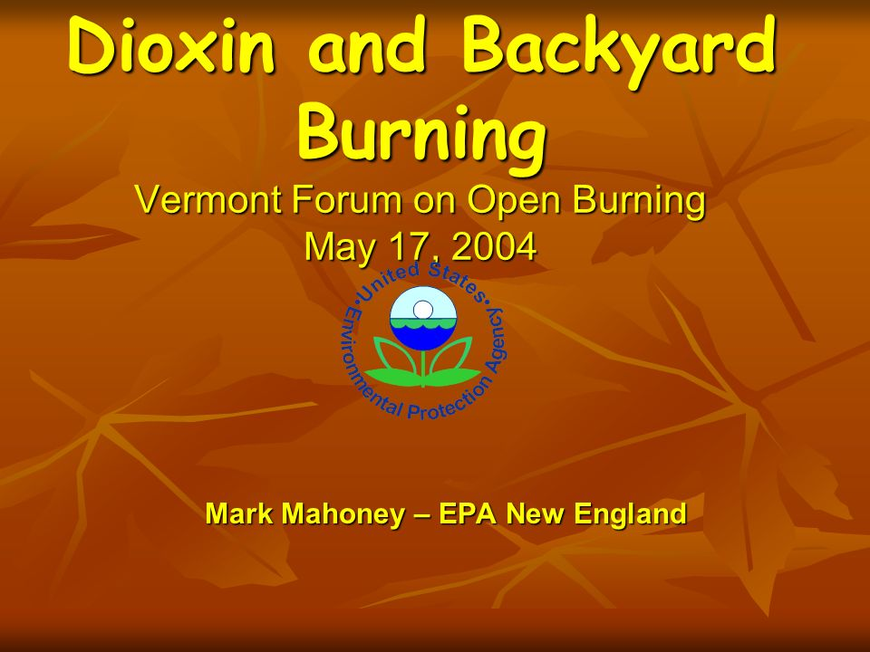 Mark Mahoney – EPA New England Dioxin and Backyard Burning Vermont Forum on Open Burning May 17, 2004