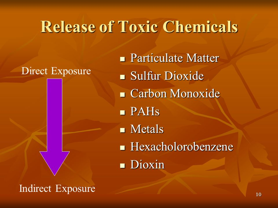 10 Release of Toxic Chemicals Particulate Matter Particulate Matter Sulfur Dioxide Sulfur Dioxide Carbon Monoxide Carbon Monoxide PAHs PAHs Metals Metals Hexacholorobenzene Hexacholorobenzene Dioxin Dioxin Direct Exposure Indirect Exposure