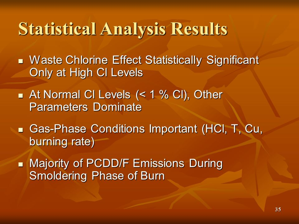 35 Statistical Analysis Results Waste Chlorine Effect Statistically Significant Only at High Cl Levels Waste Chlorine Effect Statistically Significant Only at High Cl Levels At Normal Cl Levels (< 1 % Cl), Other Parameters Dominate At Normal Cl Levels (< 1 % Cl), Other Parameters Dominate Gas-Phase Conditions Important (HCl, T, Cu, burning rate) Gas-Phase Conditions Important (HCl, T, Cu, burning rate) Majority of PCDD/F Emissions During Smoldering Phase of Burn Majority of PCDD/F Emissions During Smoldering Phase of Burn
