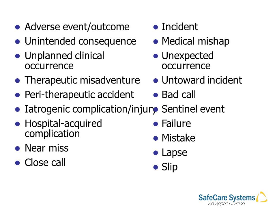 Adverse event/outcome Unintended consequence Unplanned clinical occurrence Therapeutic misadventure Peri-therapeutic accident Iatrogenic complication/injury Hospital-acquired complication Near miss Close call Incident Medical mishap Unexpected occurrence Untoward incident Bad call Sentinel event Failure Mistake Lapse Slip