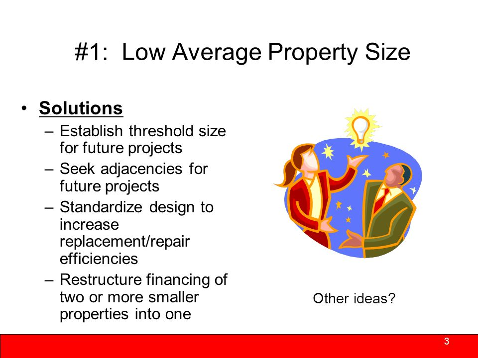 #1: Low Average Property Size Economies of scale are difficult to achieve: 100 vs.