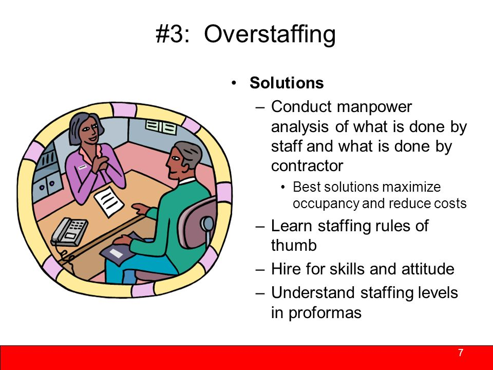#3: Overstaffing Nonprofits tend to staff at higher levels than for profits on a per unit basis –May not have large enough portfolio over which to share minimum staffing thresholds –Tend to staff functions rather than use contractors –May promote on-the-job training that requires additional supervision – Hold onto under performing staff and hire additional staff to compensate – costly overall even if individual pay is modest 6