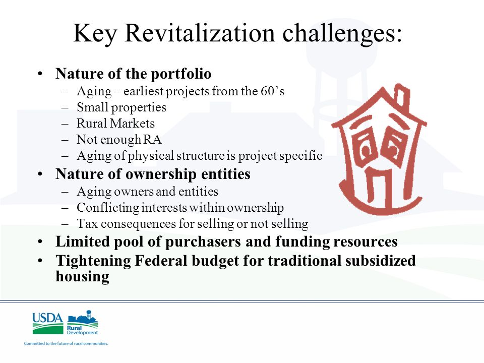Key Revitalization challenges: Nature of the portfolio –Aging – earliest projects from the 60s –Small properties –Rural Markets –Not enough RA –Aging of physical structure is project specific Nature of ownership entities –Aging owners and entities –Conflicting interests within ownership –Tax consequences for selling or not selling Limited pool of purchasers and funding resources Tightening Federal budget for traditional subsidized housing