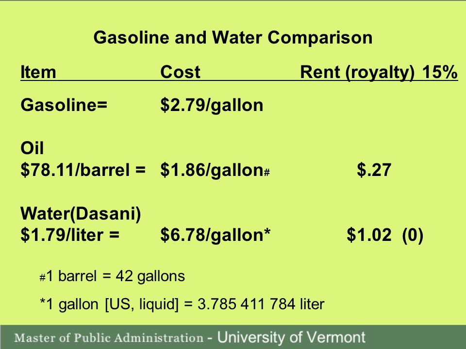 Gasoline and Water Comparison ItemCostRent (royalty) 15% Gasoline= $2.79/gallon Oil $78.11/barrel =$1.86/gallon # $.27 Water(Dasani) $1.79/liter = $6.78/gallon*$1.02 (0) # 1 barrel = 42 gallons *1 gallon [US, liquid] = 3.785 411 784 liter