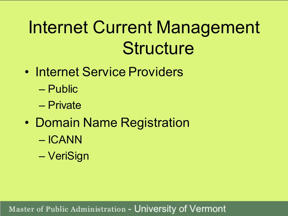 Internet Current Management Structure Internet Service Providers –Public –Private Domain Name Registration –ICANN –VeriSign