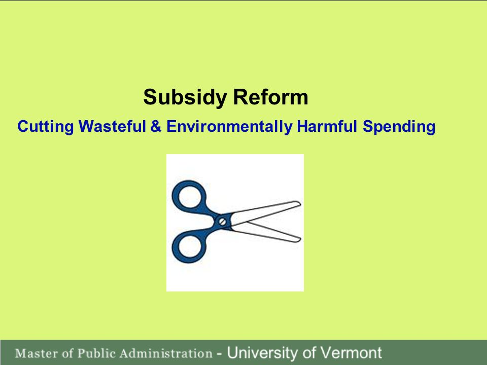 Cutting Wasteful & Environmentally Harmful Spending Subsidy Reform