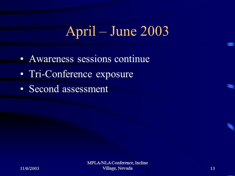 11/6/2003 MPLA/NLA Conference, Incline Village, Nevada13 April – June 2003 Awareness sessions continue Tri-Conference exposure Second assessment