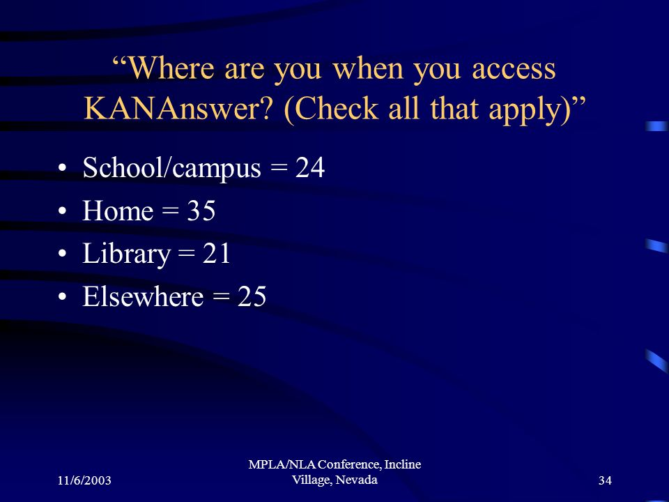 11/6/2003 MPLA/NLA Conference, Incline Village, Nevada34 Where are you when you access KANAnswer.