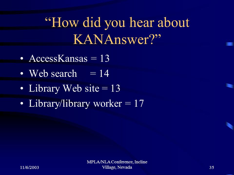 11/6/2003 MPLA/NLA Conference, Incline Village, Nevada35 How did you hear about KANAnswer.