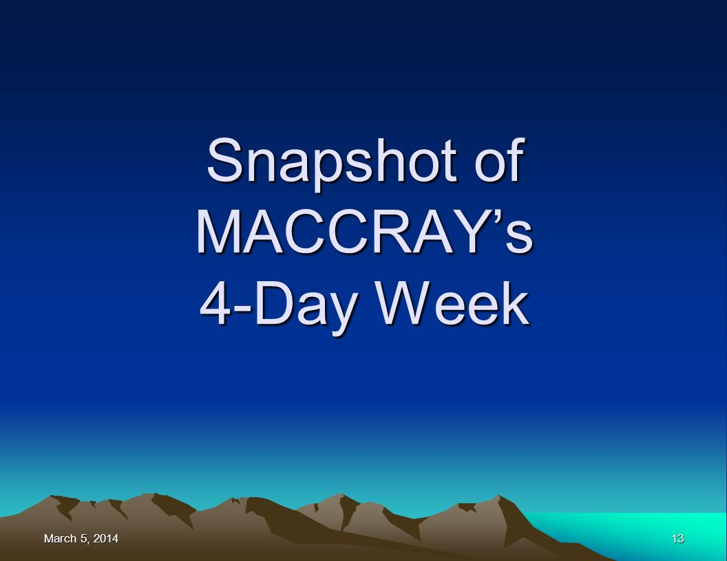March 5, 2014March 5, 2014March 5, 201413 Snapshot of MACCRAYs 4-Day Week
