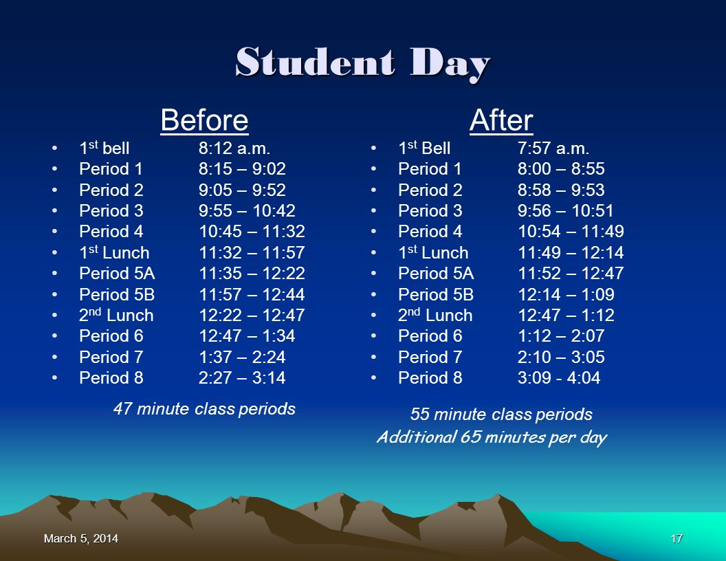 March 5, 2014March 5, 2014March 5, 201417 Student Day Before 1 st bell8:12 a.m.