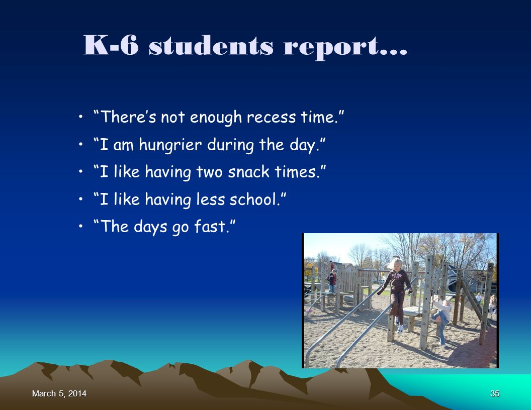 March 5, 2014March 5, 2014March 5, 201435 K-6 students report… Theres not enough recess time.
