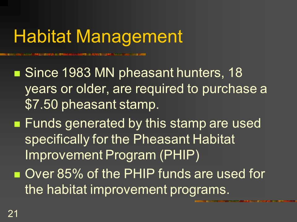 21 Habitat Management Since 1983 MN pheasant hunters, 18 years or older, are required to purchase a $7.50 pheasant stamp.
