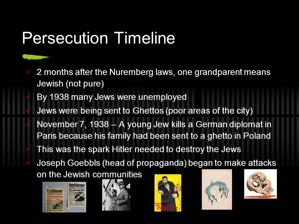 Persecution Timeline 2 months after the Nuremberg laws, one grandparent means Jewish (not pure) By 1938 many Jews were unemployed Jews were being sent to Ghettos (poor areas of the city) November 7, 1938 -- A young Jew kills a German diplomat in Paris because his family had been sent to a ghetto in Poland This was the spark Hitler needed to destroy the Jews Joseph Goebbls (head of propaganda) began to make attacks on the Jewish communities
